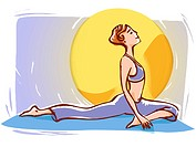Woman stretching in front of sun
