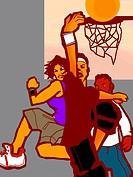 A group of boys playing basketball