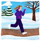 A woman jogging in the park in winter