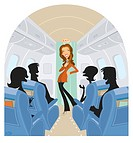 Flight attendant entertaining the passengers