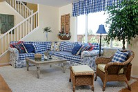 Country Style Living Room Decorated with Checked Fabric