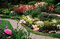 USA, Washington State, San Juan Island, path through flower garden