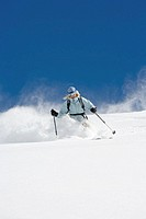 USA, Idaho, Sun Valley, woman skiing