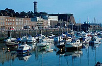 Ships, at, low, tide, in, harbour, St., Helier, Jersey, Channel, Islands, Great, Britain