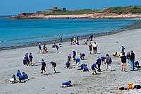 Children, playing, at, beach, Vazon, Bay, Guernsey, Channel, Islands, Great, Britain