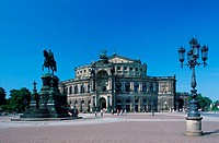 Semper, Opera, and, monument, of, King, Johannes, Dresden, Saxony, Germany, Semperoper, Reiterstandbild, von, Koenig, Johannes, und, Theaterplatz, Dre...