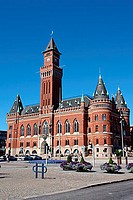 The neo-Gothic town hall, which stands beside the main square (Stortorget), in Helsingborg, Skane, Sweden. The Swedish architect Alfred Hellerstrom (1...