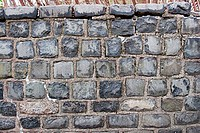 A stone wall in Prospect Park, Brooklyn, New York.