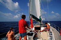 People, on, sailing, yacht, Maldives