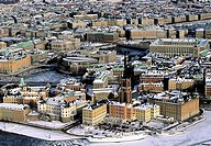 Aerial view of architectural buildings at Stockholm, Sweden