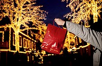 A person holding red shopping bag