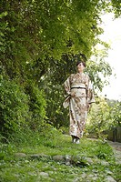 Pretty Japanese woman in kimono