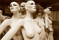 Close-up of female mannequins