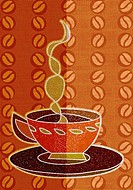 Drawing of a steaming cup of coffee
