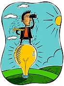Businessman standing on a large lightbulb