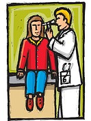 doctor checking patients ears