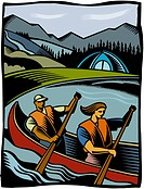 A couple canoeing in a river