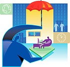 Illustration of Insurance - a man holds an umbrella over a working employee