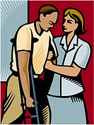 A nurse assisting a man on crutches