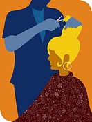 A woman getting her hair cut