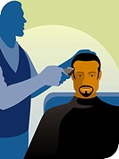 A man getting a hair cut