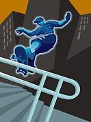A boy skateboarding in the city
