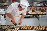 Foie gras, preparing canapes, Divinus Catering, San Sebastian, Donostia, Gipuzkoa, Basque Country