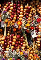 Onions, at, market, stall, Weimar, Thuringia, Germany, Allium, cepa, Zwiebelnmarkt