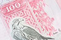 Close-up of a one hundred Dinar banknote