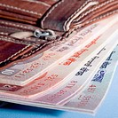 Close-up of Indian banknotes in a wallet