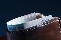 Close-up of Indian one hundred rupee banknotes in a wallet