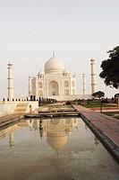 Pond in front of a mausoleum, Taj Mahal, Agra, Uttar Pradesh, India