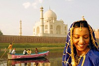 Close-up of a young woman smiling, Taj Mahal, Agra, Uttar Pradesh, India