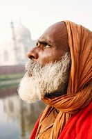 Close-up of a priest looking up, Taj Mahal, Agra, Uttar Pradesh, India