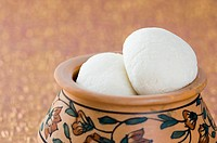 Close-up of sponge Rasgullas in a bowl (thumbnail)