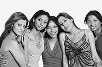 Portrait of five young women standing together and smiling (thumbnail)