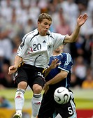 Sport, football, world championships, quarter final, Germany versus Argentina, 4:2 1:1, Berlin, 30 6 2006, from left to right, Lukas Podolski, Esteban...