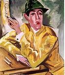 Ü Kunst, Pechstein, Max 31 12 1881 - 29 6 1955, Gemälde Jockey 1920, Osthaus Museum, Hagen dt , expressionismus, Die Brücke bildnis eines mannes, mann...