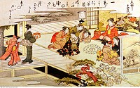 fine arts, Japan, Game with shells, Kitagawa Utamaro 1753 _ 1806, coloured woodcut, Edo period, 1790 _ 1791, Museum für Ostasiatische Kunst, Cologne, ...