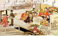 fine arts, Japan, Game with shells, Kitagawa Utamaro 1753 _ 1806, coloured woodcut, Edo period, 1790 _ 1791, Museum für Ostasiatische Kunst, Cologne, ...
