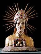 Ü Kunst, Sakralkunst, Heilige, Sankt Nikolaus Myra ca. 280/286 _ 345/351, Büste, Skulptur, Stein, Dorfkirche Pfünz, Mittelfranken, Kreis Eichstätt, Wu...