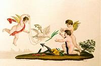 Kunst, Stammbuch_Illustration, Drei Eroten am Meer, Einlegebild, colorierter Stich, Verlag L. W. Wittich, Berlin um 1810/1820, 10,5 x 16 cm, Privatsam...