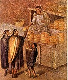 fine arts, ancient world, Roman Empire, fresco, bakery, Pompeii, 1st century AD, National Museum Naples, people, Romans, food, bread, baker, chandler,...
