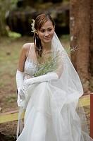Shooting model in bridal wear at Santubong Resorts, Kuching, Sarawak, Malaysia.
