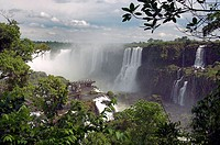 The Iguassu Falls  Devils Throat and the Iguassu river gorge as viewed from the Brazilian side.