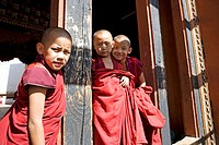 Bhutan. Paro. Paro Dzong Monastery. Little buddhist monks.