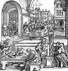 SG hist , Wissenschaft, ´Die Künste´, Holzschnitt von Hans Sebald Beham 1500 - 1550, Schreibkunst, Mathematik, Musik, Malerei, Bildhauerei, Astronomie...