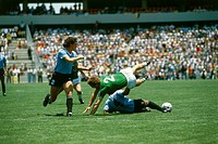 Sport / Sports, soccer, football, World Cup 1986, final round, group match, Germany against Uruguay, 1:1 in Queretaro, Mexico, 4 6 1986, scene with Ha...