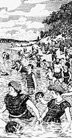 SG hist , Badewesen, Freibad, Wannsee, Berlin, um 1910, Zeichnung von Hans Baluschek 1870 - 1935, Deutschland, Preußen, Kaiserzeit, baden, See, Badend...