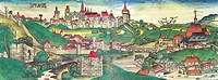 geography/travel, Czech Republic, Prague, view, coloured woodcut by Michael Wohlgemut or Wilhelm Pleydenwurff, world chronicle by Hartmann Schedel, Nu...